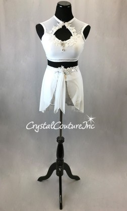 White/Silver Holographic Flecked 2 Pc Crop Top and High Waist Short w/separate Skirt