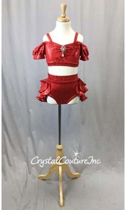 Red Metallic Lycra 2 Piece Crop Top and Briefs/Tiered Back Skirt - Size YM