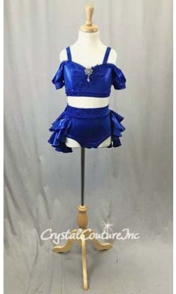 Royal Blue Metallic Lycra 2 Piece Crop Top and Briefs/Tiered Back Skirt - Size YM