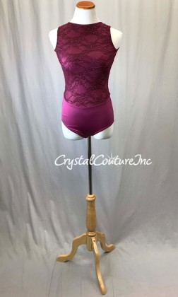 Ruby Floral Lace and Lycra Leotard with Open Back - Swarovski Rhinestones