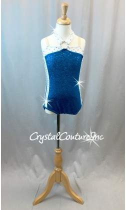 Royal Blue Zsa Zsa Halter Leotard  w/White Striping - Swarovski Rhinestones - Size YL