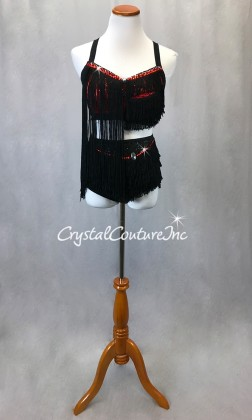 Black and Red 2 Piece Top and Trunk/Fringe Skirt  - Swarovski Rhinestones