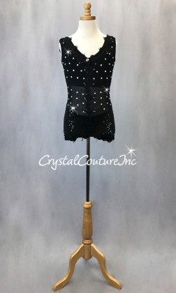 Black Bike-a-tard with Embroidered Appliques - Rhinestones