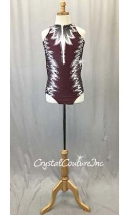 Burgundy Front Zip Leotard with White/Grey Pattern - Swarovski Rhinestones - Size AS