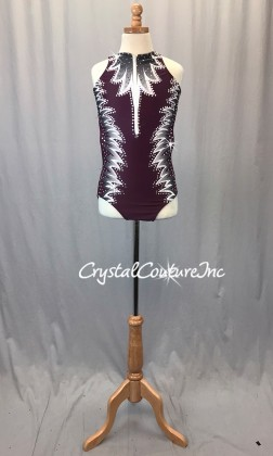 Burgundy Front Zip Leotard with White/Grey Pattern - Swarovski Rhinestones