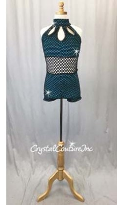 Black Open Net Bike-a-Tard with Teal Blue Top and Booty Shorts - Swarovski Rhinestones - Size AXS