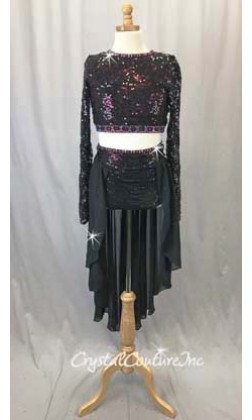 Black Lace & Sequin Top & Trunk/Chiffon Skirt - Rhinestones - Size AS