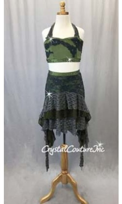 Olive Green and Grey 2 Piece Halter Bra Top with Skirt-Swarovski Rhinestones - Size AXS