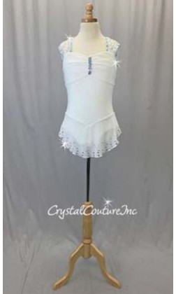 White Sheer Mesh Dress with Lycra Leotard - Swarovski Rhinestones - Size AS