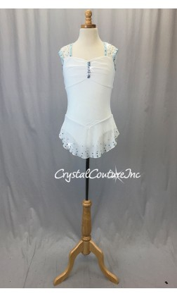 White Sheer Mesh Dress with Lycra Leotard - Swarovski Rhinestones