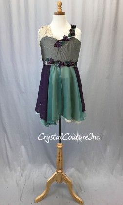 Taupe Top & Short w/Plum, Green, Ivory Empire Waist Skirt - Rhinestones