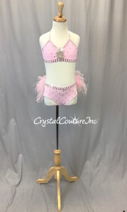Lt Pink Top and Briefs/Feather Bustle - Swarovski Rhinestones