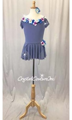 Periwinkle Blue Skirted Leotard with Flowers  -Swarovski Rhinestones - Size YL