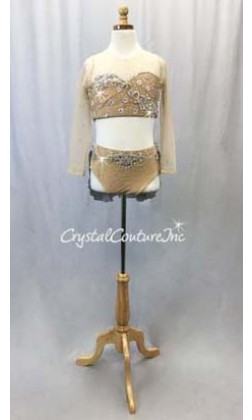 Nude 2-Piece Long Sleeve Crop Top and Briefs w/Lt Grey Back Skirt - Appliques - Swarovski Rhinestones - Size AXS
