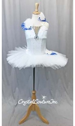 White Soft Platter Tutu w/Attached White Leotard - Swarovski Rhinestones - Size YL
