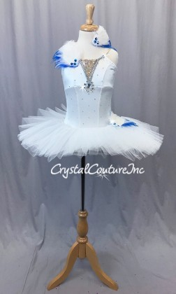 White Soft Platter Tutu w/Attached White Leotard - Swarovski Rhinestones