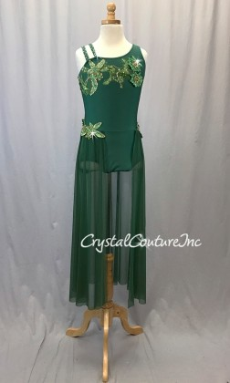 Forest Green Leotard with Mesh Skirt and Embroidered Appliques - Swarovski Rhinestones