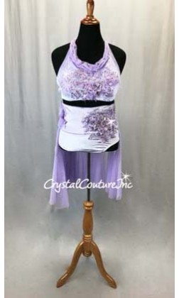 Lavender Velour Bra Top and High Waist Briefs w/Sheer Back Skirt - Appliques - Swarovski Rhinestones - Size AL