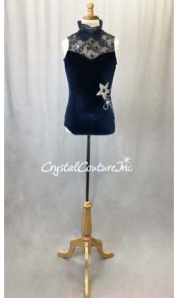 Navy Blue Velour and Floral Lace Leotard - Swarovski Rhinestones - Size AXS