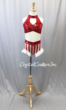 Red and White 2 Pc Bra Top and Shorts - Swarovski Rhinestones