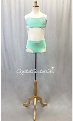 Mint Green Bandeau Top and Trunk White Appliques - Swarovski Rhinestones - Size AXS