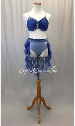 Blue Ombre 2pc Bra-Top with Brief/Tendril Skirt - Swarovski Rhinestones - Size AS