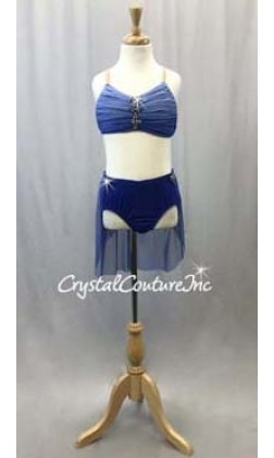 Blue Ombre Mesh 2-Piece Bra Top and Briefs w/Back Skirt - Swarovski Rhinestones - Size YM