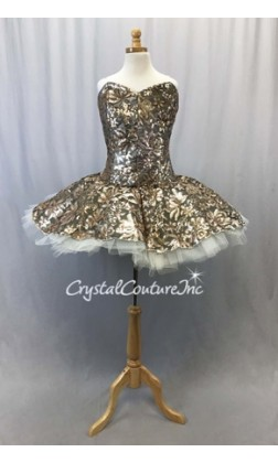 Black Mesh w/Gold Sequin Fabric Overlay Soft Platter Tutu - Size AS