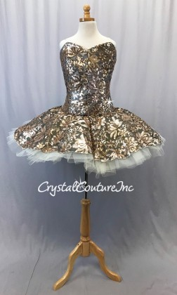 Black Mesh w/Gold Sequin Fabric Overlay Soft Platter Tutu