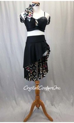 Black Lycra 2-Piece Bra Top and Skirt w/Geometric Print Lining - Rhinestones - Size AS