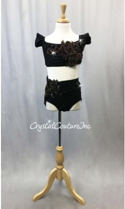 Black Lycra 2-Piece Crop Top and Trunks with Green/Brown/Purple Appliques - Swarovski Rhinestones - Size YL