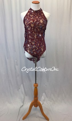 Burgundy Lace Leotard with Half Skirt - Swarovski Rhinestones