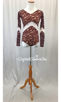 Burgundy Paisley Open Lace Leotard with Nude Lining - Size AS