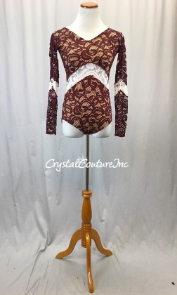 Burgundy Paisley Open Lace Leotard with Nude Lining