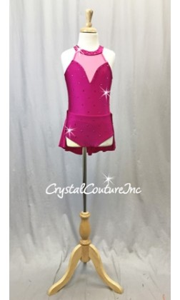 Fuchsia Leotard w/Attached Back Skirt - Rhinestones - Size YM
