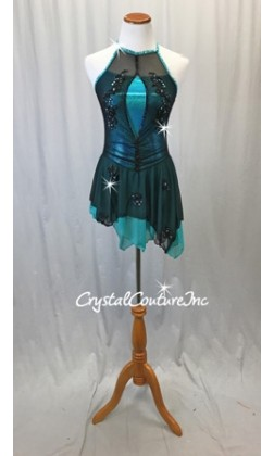 Teal Blue Metallic Lycra and Black Mesh Dress w/Black Appliques - Swarovski Rhinestones - Size AS