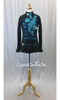 Black Sequin Stretch Lace Dress w/Turquoise Applique - Swarovski Rhinestones