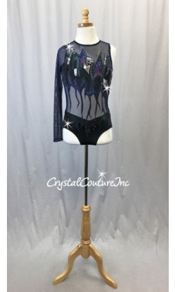 Hand painted Navy Mesh and Black Lycra Leotard - Swarovski Rhinestones
