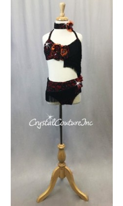 Black and Red Connected 2 pc Halter Top and Brief/Back Skirt- Swarovski Rhinestones