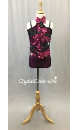 Pink, Black Leotard with Beaded Appliques - Swarovski Rhinestones
