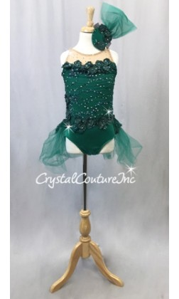 Emerald Green Lycra Leotard with Appliques and Back Skirt - Rhinestones - Size YM