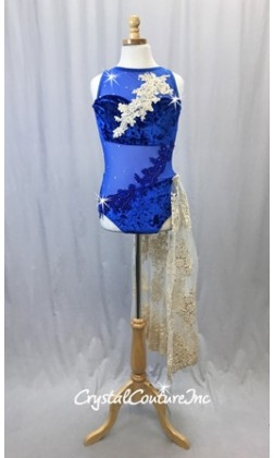 Royal Blue Crushed Velour/Mesh Leotard w/Champagne Embroidered Side Skirt - Size AXS