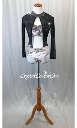 Lilac Crushed Velour and Black Mesh Connected 2-Piece w/Rhinestone Applique - Swarovski Rhinestones  - Size AM