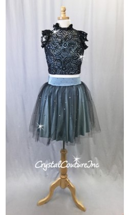 Slate Blue Lycra and Black Lace Top with Tulle/Lycra Skirt - Rhinestones - Size AXS