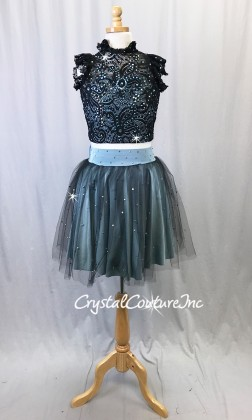 Slate Blue Lycra and Black Lace Top with Tulle/Lycra Skirt - Rhinestones