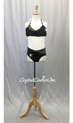 Black 2 pc Halter-top and Black Brief w/appliques - Swarovski Rhinestones - Size YM