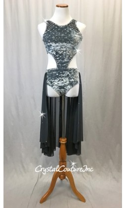 Slate Grey Stretch Velour and Charcoal Mesh Connected 2-Piece - Swarovski Rhinestones - Size AS
