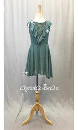 Dusty Green Chiffon/Lycra Dress w/Ruffle - Rhinestones - Size YM