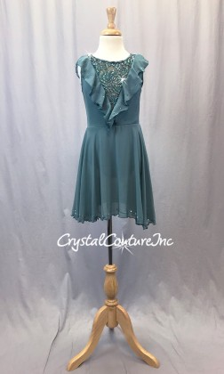 Dusty Green Chiffon/Lycra Dress w/Ruffle - Rhinestones