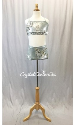 Shimmery Lt Grey Top and Boy-Cut Short with Beaded Appliques - Swarovski Rhinestones - Size AXS